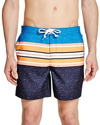 Penguin Color Block Stripe Volley Swim Trunks Dark Sapphire