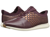 Cole Haan 2.0 Studiogrand Weave Trainer Deep Berry Leather Neoprene Deep Copper Metallic Leather Ivory Women's Shoes Brown