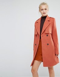 Vila Double Breasted Coat Aragon Orange