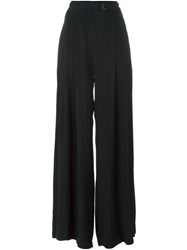 Raquel Allegra Striped Palazzo Trousers Black