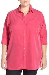 Plus Size Women's Foxcroft High Low Tunic Shirt Cherry Blossom