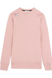 Tim Coppens Embroidered Cotton Jersey Sweatshirt Pastel Pink