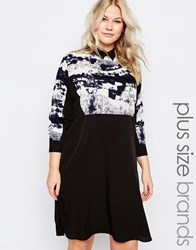 Ax Paris Plus Shirt Dress With Smudge Print Top Black White