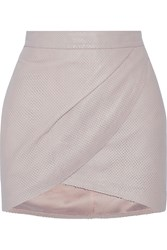 Mason By Michelle Mason Wrap Effect Perforated Leather Mini Skirt Nude