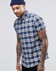 Asos Check Shirt In Linen Mix With Short Sleeves Blue