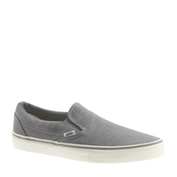 J.Crew Vans Classic Slip On Sneakers In Washed Canvas Nickel