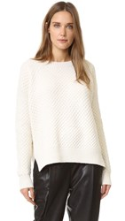Vince Honeycomb Crew Sweater Winter White