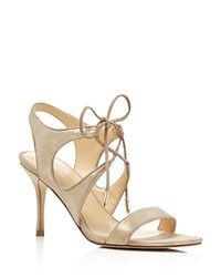 Ivanka Trump Garver Metallic Lace Up High Heel Sandals Natural