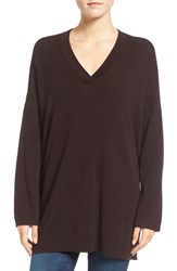 Eileen Fisher Women's Fine Gauge Wool Oversize V Neck Sweater Clove