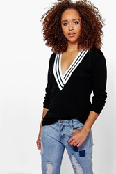 Boohoo V Neck Sports Rib Jumper Black