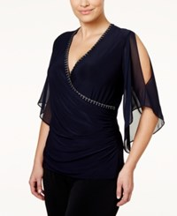Msk Plus Size Illusion Sleeve Embellished Top Deep Navy