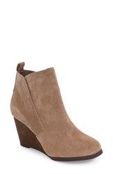Sole Society Women's Brigitte Wedge Bootie Coffee Suede