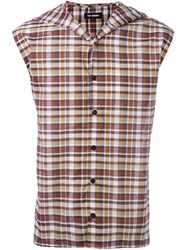 Raf Simons Sleeveless Plaid Shirt Red
