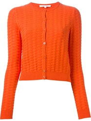 Carven Textured Cardigan Yellow And Orange