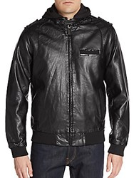 Members Only Faux Leather Hooded Bomber Jacket Black