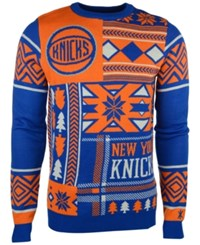 Forever Collectibles Men's New York Knicks Patches Christmas Sweater Royal Blue Orange