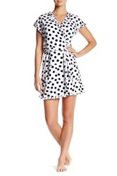 Betsey Johnson Polka Dot Ruffle Robe Blkdt
