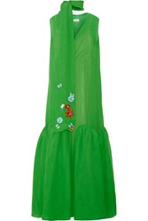 Delpozo Embellished Silk Georgette Maxi Dress Green