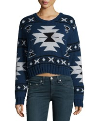 Long Sleeve Tribal Print Crop Sweater Indigo