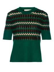 Marni Short Sleeved Wool Blend Crochet Sweater Green Multi
