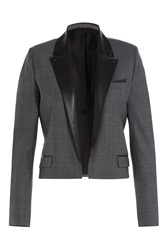 The Kooples Cropped Wool Blazer With Leather Grey
