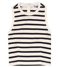 Alexander Wang Striped Cotton Crop Top White
