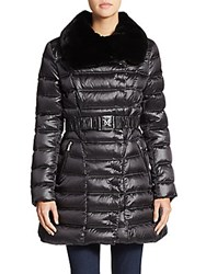 Dawn Levy Izzie Fur Collar Puffer Coat Black