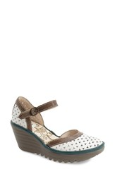 Women's Fly London 'Yude' Perforated Sandal Off White Leather