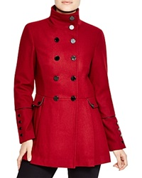 Calvin Klein Military Style Pea Coat Red