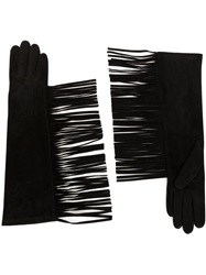 Lanvin Fringed Long Gloves Black