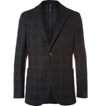 Incotex Slim Fit Checked Crinkled Wool Blend Blazer Navy