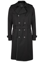 Valentino Rockstud Double Breasted Twill Trench Coat Black
