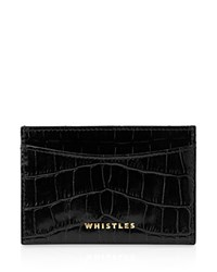 Whistles Shiny Croc Embossed Card Case Black