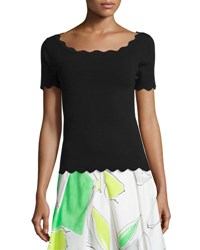 Milly Scallop Trim Ballet Pullover Black