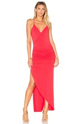 Krisa Asymmetrical Ruched Maxi Dress Red