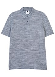 Nn.07 Lupert Navy Melange Cotton Polo Shirt Blue