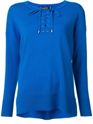 Magaschoni Lace Up Round Neck Jumper Blue
