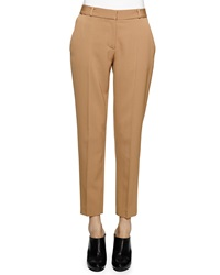 Stella Mccartney Skinny Fit Wool Twill Ankle Pants Camel