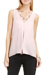 Vince Camuto Women's Lace Inset V Neck High Low Blouse Rosy Flush