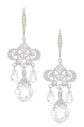 Nadri Legacy Pave Filigree And Cz Briolette Chandelier Earrings White