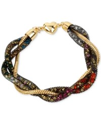 Betsey Johnson Gold Tone Crystal Mesh Filled Twisted Coil Bracelet Multi