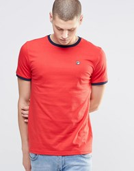 Fila Vintage Ringer T Shirt With Small Logo Red