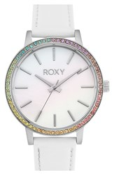 Women's Roxy 'The Bells' Round Leather Strap Watch
