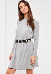 Missguided Grey High Neck Skater Dress