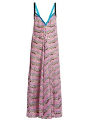 Missoni Mare Striped Zigzag Knit Dress Pink