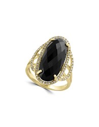 Effy Eclipse Diamond Onyx And 14K Yellow Gold Ring Black