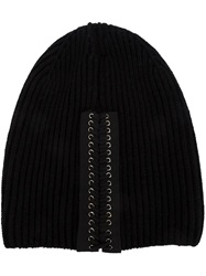 Vera Wang Lace Up Detail Beanie Black