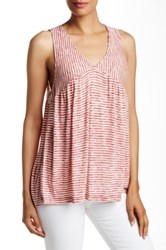 Pleione Striped Tie Back Knit Tank Red
