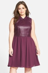 Sejour Leather Detail Sleeveless Mixed Media Fit And Flare Dress Plus Size Purple