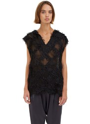 Baja East Sleeveless Hairy Jacquard Tank Top Black